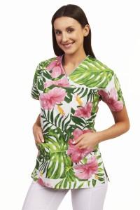 4fe6e8568a Bluza medyczna Flores hibiskus różowy z zielonymi liśćmi na białym