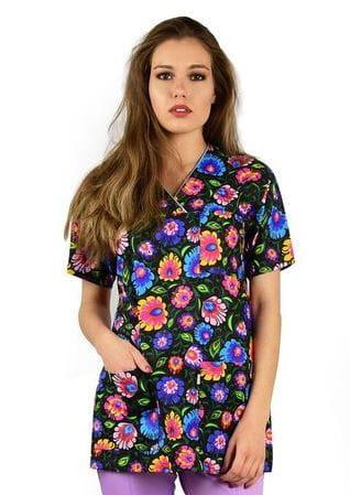 36b576ee4d3af Bluza medyczna kolorowa Flores łowicki na czarnym MFFB002.jpeg ...